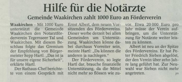 Zeitungsartikel 1000 Euro Waakirchen