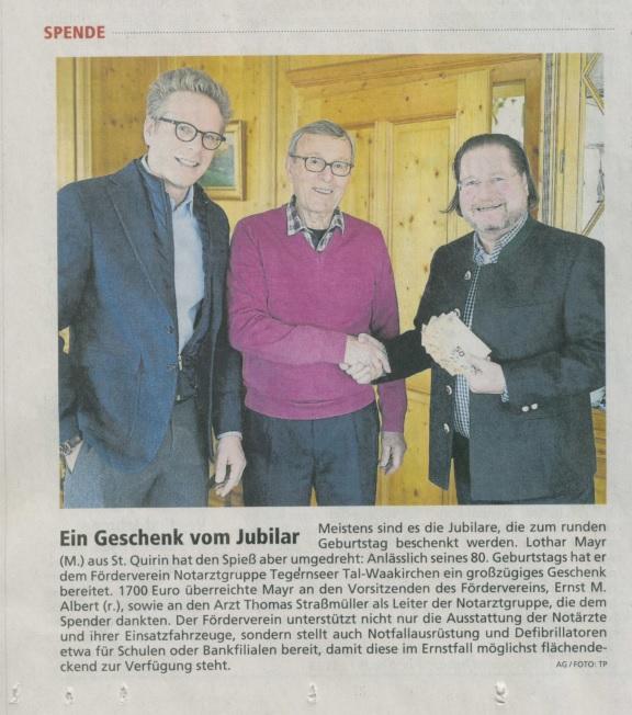 Zeitungsartikel Spende Geburtstag